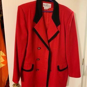Vintage Oleg Cassini power blazer sz 16 1980s red